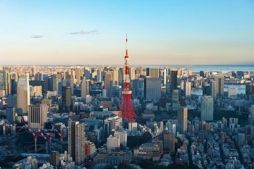 도쿄 도심과 도쿄 타워 (저녁)