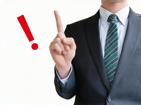 Men pointing to business points-white background