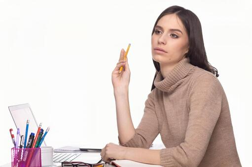Woman with writing instrument 1
