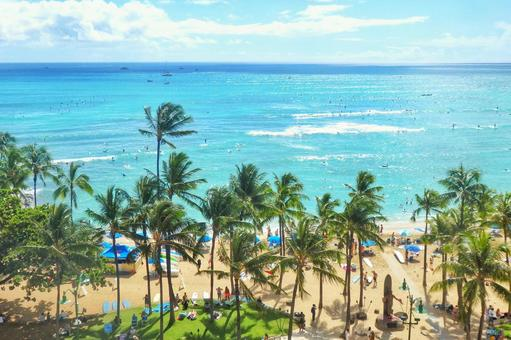 Waikiki beach is right in front of you! Superb view from the hotel room
