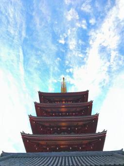 Sensoji Temple Five-story Pagoda
