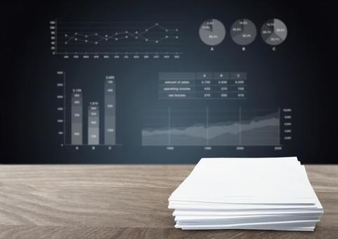 Document pile and business graph