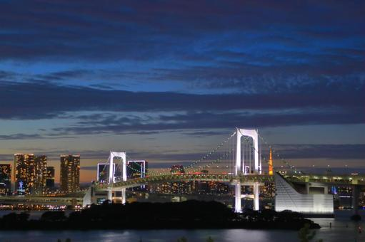 Rainbow bridge at dusk