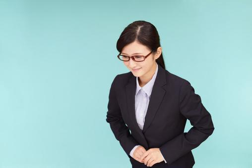 Business Woman Greetings Bowing