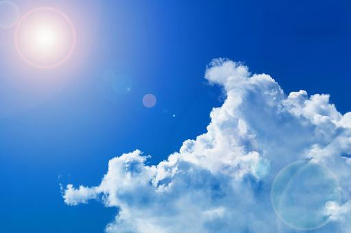Clouds and sky under the scorching sun that are likely to cause heat stroke (with or without the sun in the layer)
