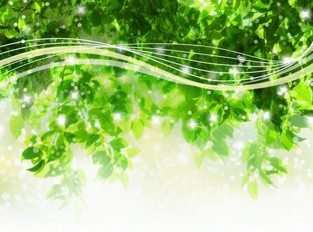 與新綠色木材太陽和流線的抽象背景