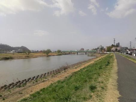 Fukushima City Funabacho Abukuma River Embankment