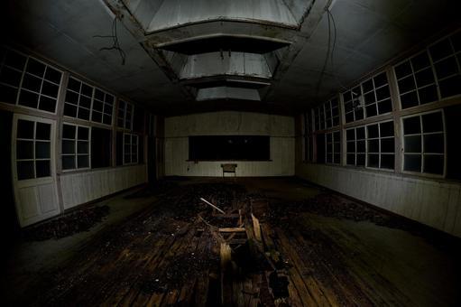 Closed classroom at midnight