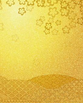 Golden japanese style cherry blossom pattern background material