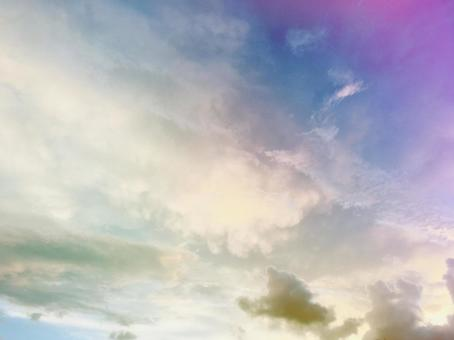 Sky beautiful fantastic watercolor-like pale sunrise sky cloudy sky clouds cumulus clouds sheep clouds beautiful natural
