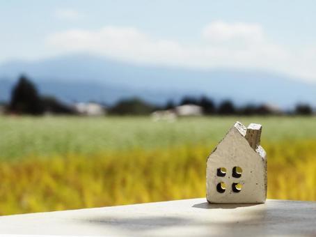 집 소품 1 개와 메밀꽃과 벼와 산 풍경