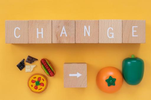 """Dietary changes, reforms and improvements   Blocks and clocks labeled """"CHANGE"""""""