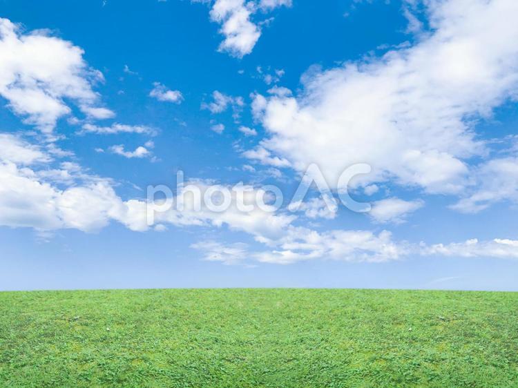 草原と気持ちのいい青空 5の写真