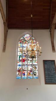 Stained glass and chandelier