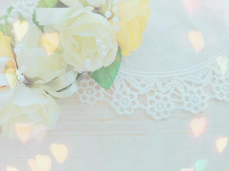 Rose corsage and lace background glitter heart frame