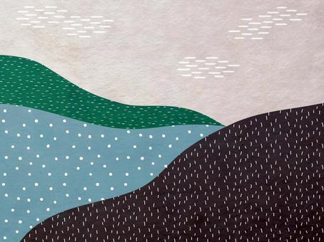 山景中現代日本紙的背景材料_棕色日本花紋紋理