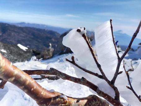 金峰山 산정의 수빙과 후지산