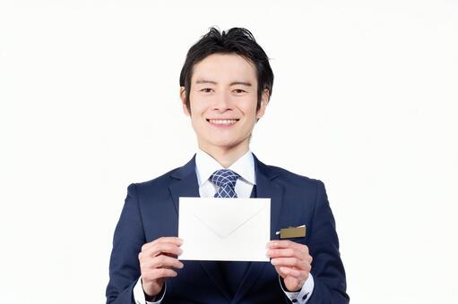 Hotel man with envelope