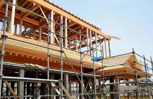 Wooden house construction site 37