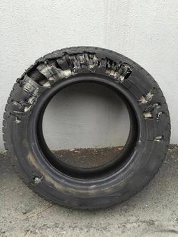 Car tire burst