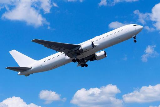 Airplane 10 (passenger plane jet plane taking off ascending blue sky)