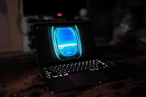 Laptop in a dark room (gaming PC)