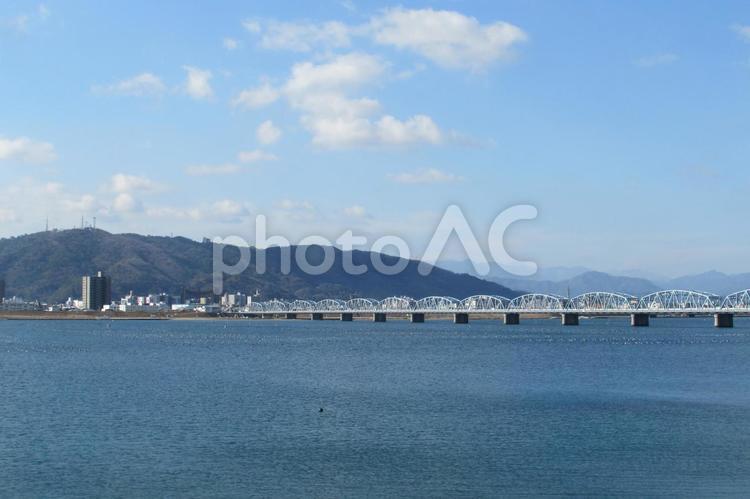 吉野川橋と眉山の写真