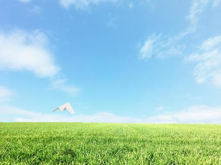 Paper plane flying in the blue sky over the meadow 2