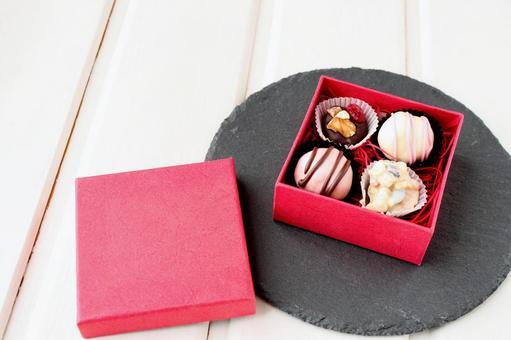 Handmade chocolate in a box