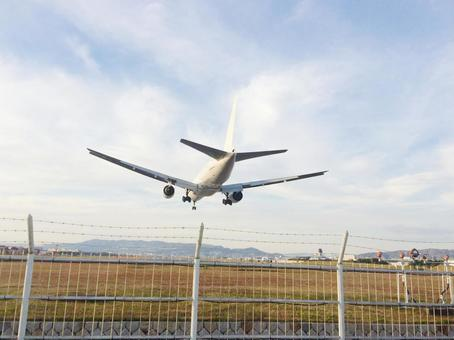 Airplane ready to land at the airport
