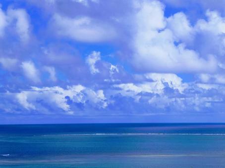 Okinawa sea_sky and blue background bird's-eye view