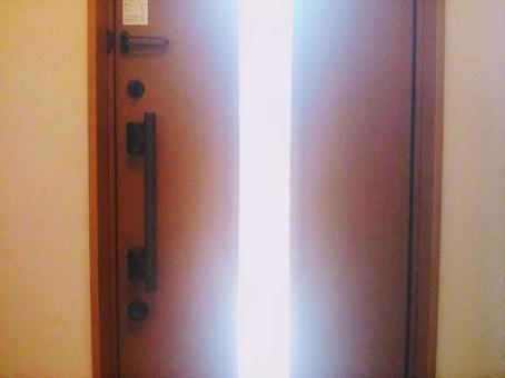 Entrance door where the sun shines