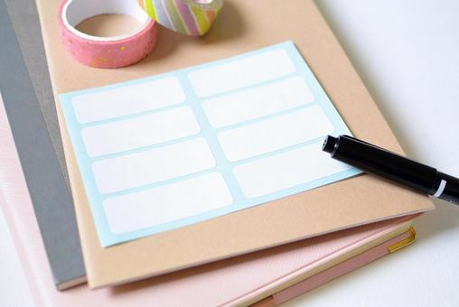 Label sticker and notebook / stationery image