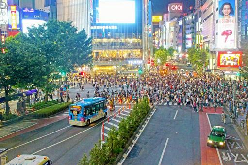 Distant view Shibuya scramble intersection