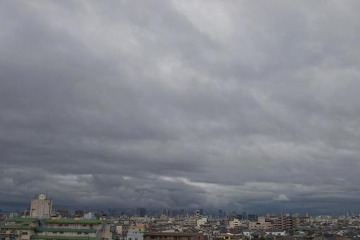악천후 오사카의 거리