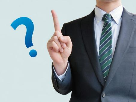Male answering business doubt - blue background