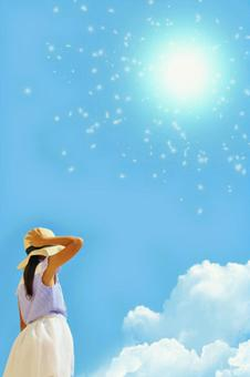Midsummer sky and girl