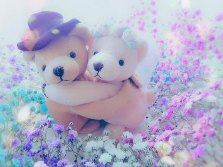 Flower field and teddy bear bride and groom
