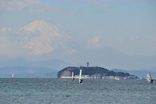 Landscape Enoshima and Mt. Fuji