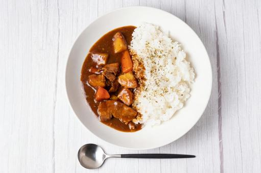 Curry rice pork curry white table spoon