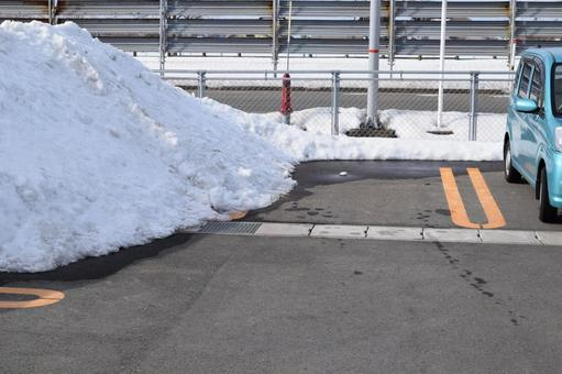 Snow-removed parking lot