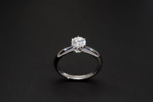 Enlarged shot of a diamond ring with a black background