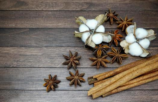 Cinnamon and Star Anise and Cotton Flower _ Background Brown