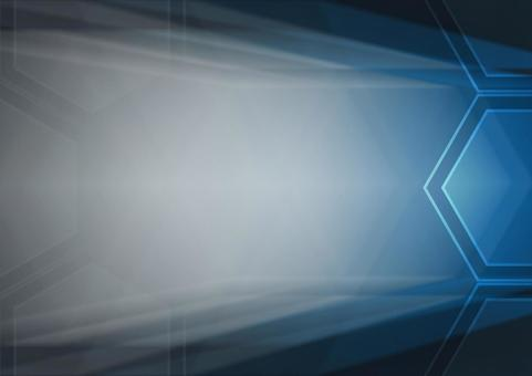 Hexagon and radial lines Background illustration material (blue)