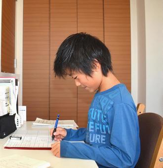 Elementary school studying