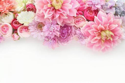 蓬鬆花卉框架粉紅色3