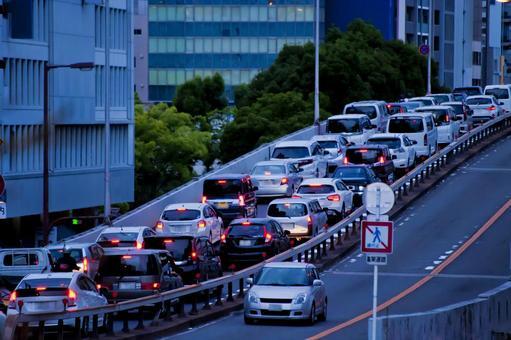 Tenmabashi of the heavy traffic jam