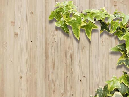 Wood texture and plant background horizontal position material