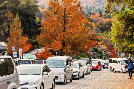 Traffic jam in the resort area