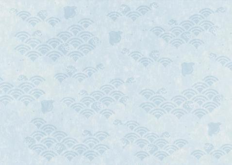 Houndstooth pattern between waves _ Washi _ Gray Blue